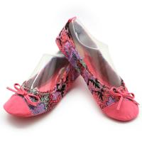 Soft Fluffy Elastic Ballet Flat Shoes Comfortable Ballet Flats Pink Tropical Printing Manufactures