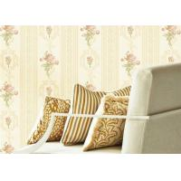 Buy cheap Concise European Flowers Pattern Interior Decoration Wallpapers With Vertical Striped from wholesalers