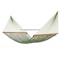 Foldable Wide Grass Green Rope Hammock With Solid Hardwood Bars Fade Resistant Manufactures
