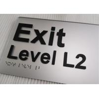 3mm Silver Acrylic Braille Signs Black Tactile Text Round Corner Straight Edge Manufactures