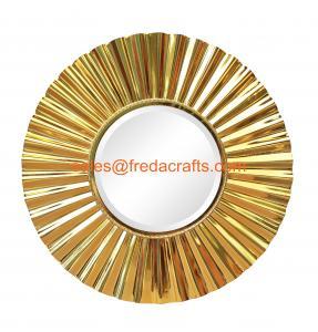 Sunburst metal framed decoration mirror middle bevelled mirror shiny gold finish Manufactures