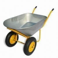 Double-wheel Wheelbarrow with 350kg Load, 120L Galvanized Tray, 7ft Capacity Metal Wheelbarrows Manufactures