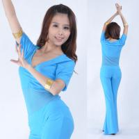 Half mesh leotard top and pants blue belly dance costume / apparel for women Manufactures