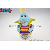 "10""Cute Blue Cartoon Stuffed Dinosaur Plush Toy With Colorful Overalls Manufactures"