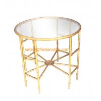 Top-selling Bamboo iron Design Metal Frame Hand Foil Finish Mirror Top Coffee table Manufactures