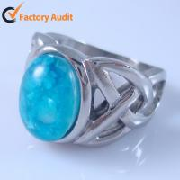 China HBNR02215 Fashion Gemstone Ring Stainless Steel Jewelry Opal ring Solitaire Ring on sale