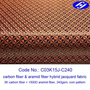 Jacquard Coin Pattern Carbon Aramid Fabric Woven Filament Fiber Yarn Manufactures