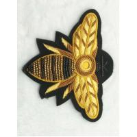 Bullion Hand Made Embroidery Badge , 3D Wire Metallic Yarn Applique Sew On Manufactures
