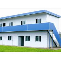 China Blue And White Prefabricated Factory Buildings , Prefabricated Steel Warehouse on sale