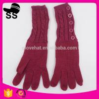 Yiwu Wholesale Hot-selling Outdoor Buttons 52g Wine Red Women Ladies Girls Winter Knitting Gloves 95%Acrylic 5%Spandex Manufactures