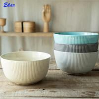Wholesale popular solid color stoneware microwave safe embossed ceramic bowl Manufactures