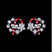 Exquisite Star Charm Earrings Christmas Wreath Enamel Costume Jewellery Manufactures