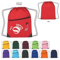 Colorful Polyester Drawstring Bag Backpack Waterproof With Front Zipper Pocket Manufactures