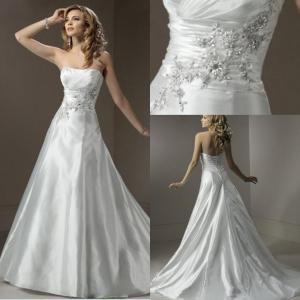 China 2013 Designer A-line Strapless Appliqued Organza Long Princess Wedding Dress Patterns on sale