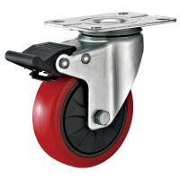 Quality 4 Inches Polyurethane PU Caster Wheel With Total Locking Brakes Color Optional for sale