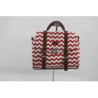 Portable Red Custom Made Canvas Bags With Outside Button Inner Pocket