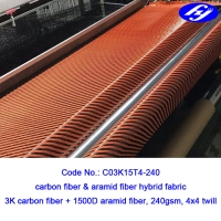 Smooth 4x4 Twill Carbon Fiber / 3K Red Carbon Fiber Cloth With Corrosion Resistance Manufactures