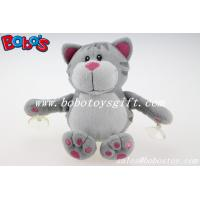 Customized Stuffed Grey Cat Animal With Plastic Suction Cups Manufactures