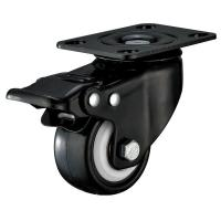 Small Furniture PU Caster Wheel With Swivel Plate Total Locking Black Bracket Manufactures
