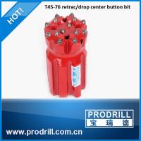 Drilling rock tools T45 76mm rocket drill threaded button bit Manufactures