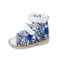 Colorful blue boys buckle strap printing leather sandals orthopedic footwear for children Manufactures