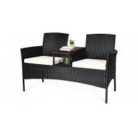 Removable Cushions Table Wicker Patio Conversation Furniture Set Tempered Glasstop Manufactures