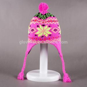 Custom Wholesale20*33cm100%polyester Snowflake Flower Striped Pattern keep warm  Beanie Kids Girls Winter Earflap Hats Manufactures