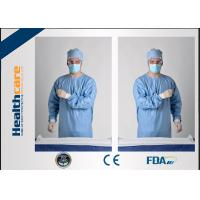 China Blue Disposable Surgical GownsSterile Reinforced Knitted Wrists Gowns ISO CE FDA Approved on sale