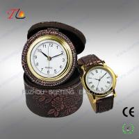 China Elegant classic travel PU leather desk clock and watch gift set for promotion on sale