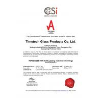 TIMETECH GLASS PRODUCTS CO.,LTD Certifications