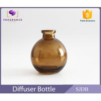 Cheap Aromatic Reed Diffuser Glass Bottle 200ml Flat Round Colored Thin Neck for sale