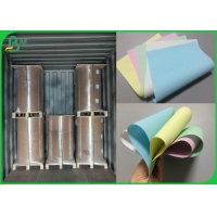 3 Part Carbonless NCR Printing Paper With Light Blue Pink Green Color Manufactures