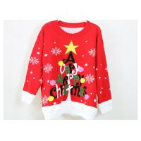 Women Acrylic Jacquard Christmas Sweater Red And Black Computer Knitted Manufactures