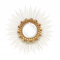 Gold leaf finish  metal frame sunburst wall mirror with iron decoration for home Manufactures