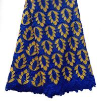 2016 Royal blue and gold cord lace fabric uk / High quality african guipure lace for dress Manufactures