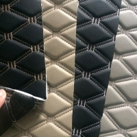 Quilted Waterproof PVC Artificial Leather Fabric Tear Resistant For Car Manufactures