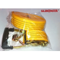 50MM Polyester Ratchet Tie Down Straps Yellow With Ratchet And Two Double J Hook