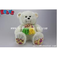 Soft Cute White Color Smile Teddy bear wholesale with nice scarf Manufactures