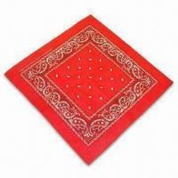 China 100% Cotton Printed or Solid-color Bandana with Locked and Sewn Edges on sale