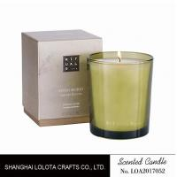 Handmade Scented Soy Candles , Long Lasting Scented Candles In Green Clear Bottle Manufactures