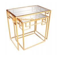 New design tempered glass top with metal powder coated frame coffee table nesting table Manufactures