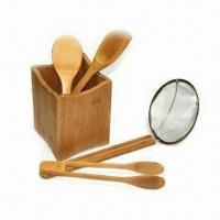 Five Pieces Bamboo Tools Set, Includes Holder, Rice Spoon, Spatula, Tong and Spider Skimmer Manufactures