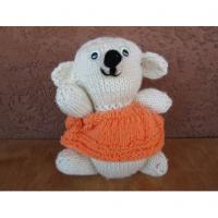 Handmade Knitted Teddy Bear Stuffed Animal Beige With Peach Dress Manufactures