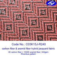 Jacquard Woven Carbon Aramid Fabric / Red Carbon Fiber Cloth With Rhombus Pattern Manufactures