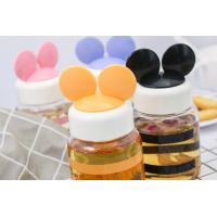 China Glass mug with bounce cover Creative mickey ear silicone rubber cover ironing fashionable radish on sale
