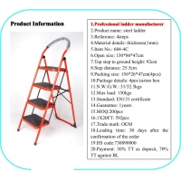 Red 1.3m Foldable Non Slip 4 Step Steel Ladder Manufactures