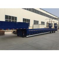 Blue Color Hydraulic Flat Bed Semi Trailer Truck 3 Axles 80t Normal Suspension Manufactures