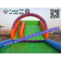 Outdoor Sport Game Zorb Ramp / Roller Ball Inflatable Steep Hill With Pool Manufactures