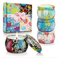 Custom Retro Patterns Travel Metal Jar Scented Candle Tin Candle Gift Sets Manufactures