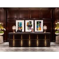China 5 Star hotel Reception desk Luxury counters Hotel reception furniture of Wood wall panel fixture with Storage cabinets on sale